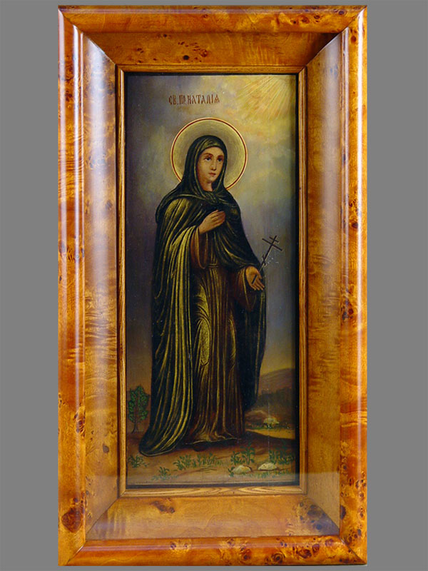 Икона «Святая Преподобная Наталия», дерево, масло, 35,3×15см, XIXвек; киот
