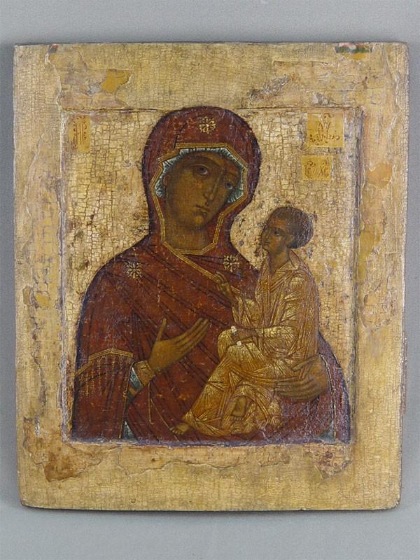 Икона «Пресвятая Богородица Одигитрия», дерево, левкас, темпера. Москва, XVIвек, 32×27см.