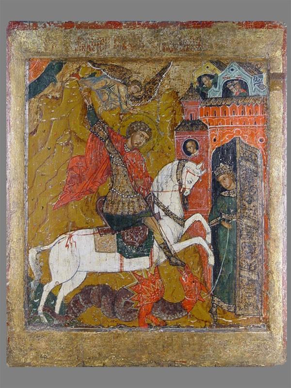 Икона «Святой Георгий Победоносец», дерево, левкас, темпера, сусальное золото, XVIIвек, 68,5×56,3см