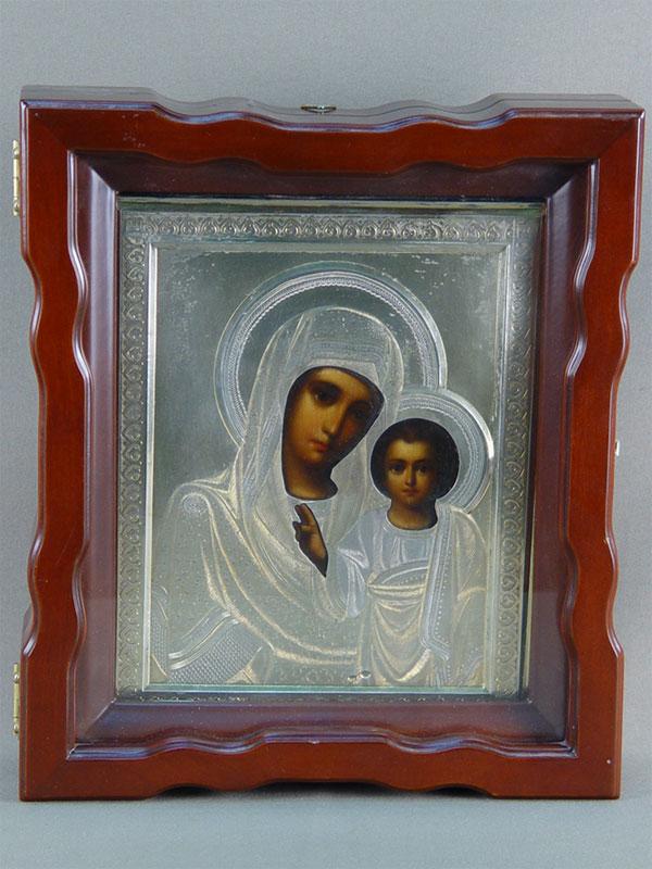 Икона «Пресвятая Богородица Казанская», дерево, масло, оклад серебро 84пробы, начало XXвека, 21×17см.