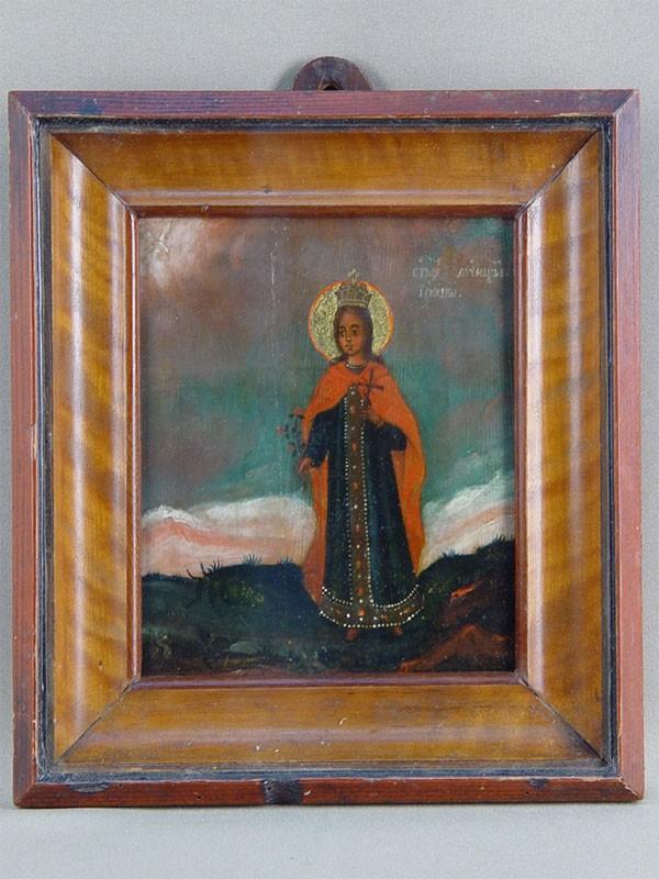 Икона «Святая Мученица Ирина», дерево, масло, конец XVIII— начало XIXвека, 17×14см; киот