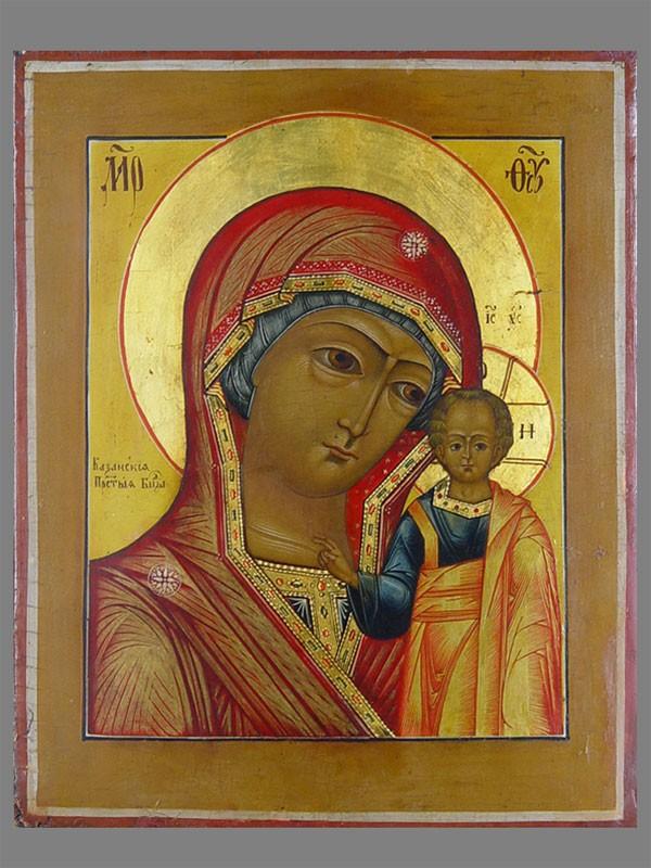 Икона «Пресвятая Богородица Казанская», дерево, левкас, темпера, золочение; XIXвек, 37×30см.