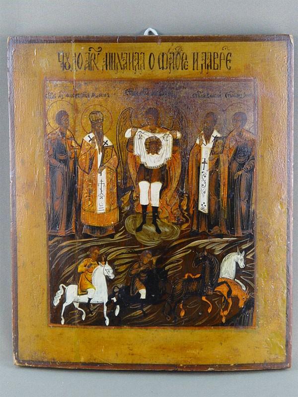 Икона «Чудо Архангела Михаила оФлоре иЛавре», дерево, левкас, темпера, XIXвек, 35×30,5см.