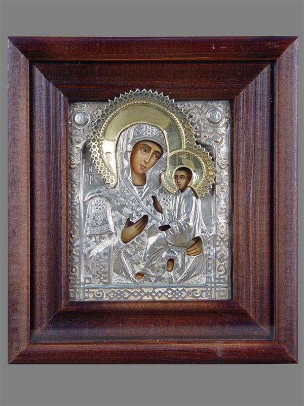 Икона «Пресвятая Богородица Тихвинская», дерево, темпера, оклад серебро 84пробы. Москва, 1884год, 13,5×11,5см; киот