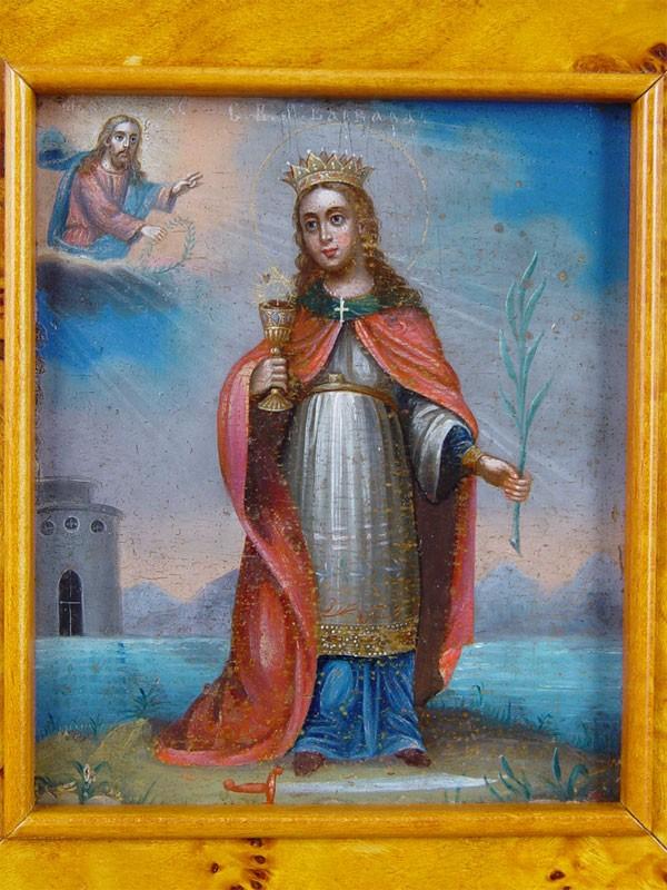 Икона «Святая Великомученица Варвара», дерево, смешанная техника, конец XIXвека, 13×11см; киот