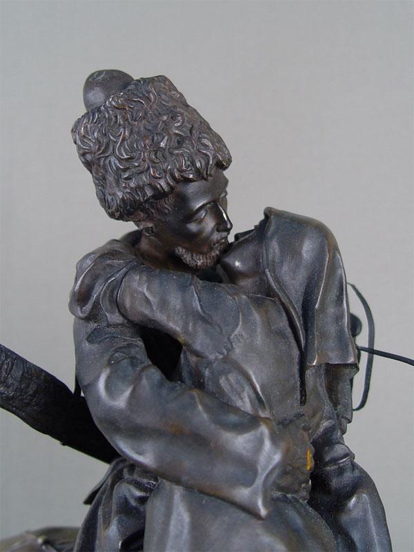 Кабинетная скульптура «Прощание казака сказачкой», бронза, литье, чеканка, патинирование. Россия, Санкт-Петербург, модель скульптора Е.А.Лансере (1878год), отливка фабрики К.А.Берто, около 1886года, высота— 41,5см.