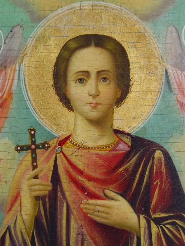 Икона «Святой Мученик Тимофей», дерево, масло. Афон, XIXвек, 22×17,5см; киот
