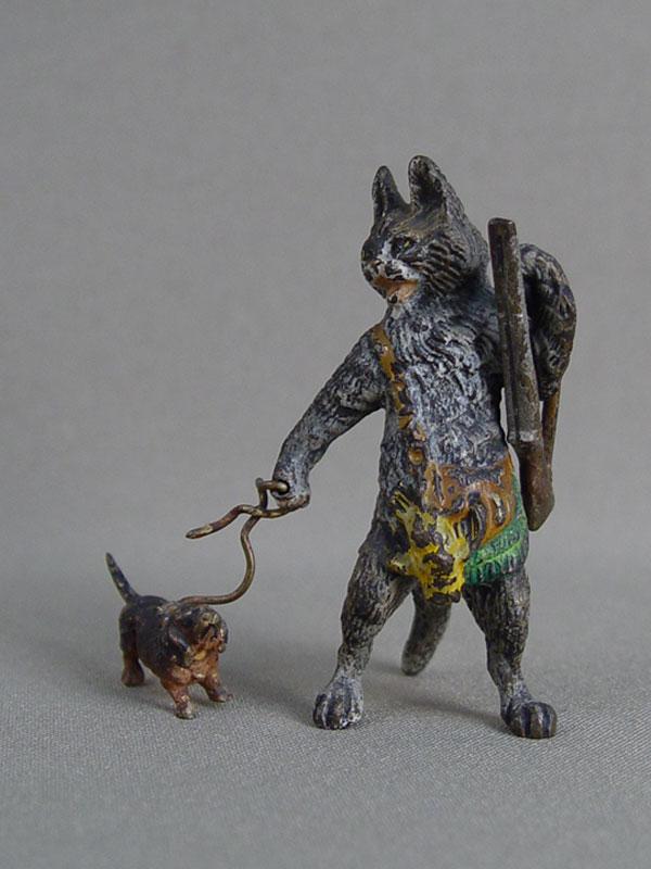 Венская бронза «Кот-охотник стаксой», конец XIXвека, высота— 7см