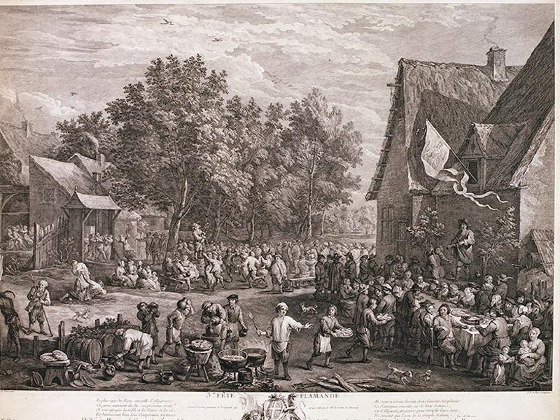 «Деревенский праздник». Гравировал намеди Jacques Philippe Le Bas (1707— 1783), покартине David Teniers. Офорт. 1743. 51,5×73см. Враме.