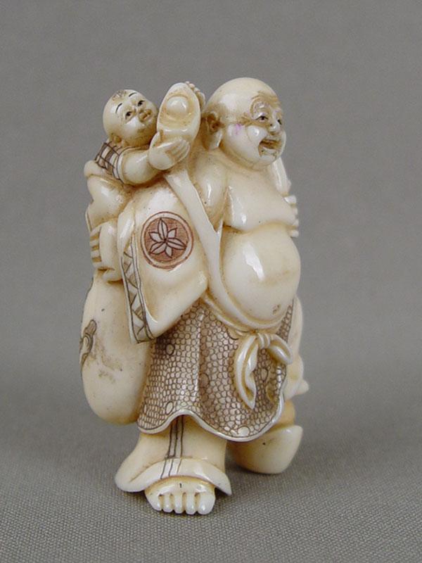 Антиквариат. Нэцкэ «Хоттей», кость. боги счастья. семь богов счастья