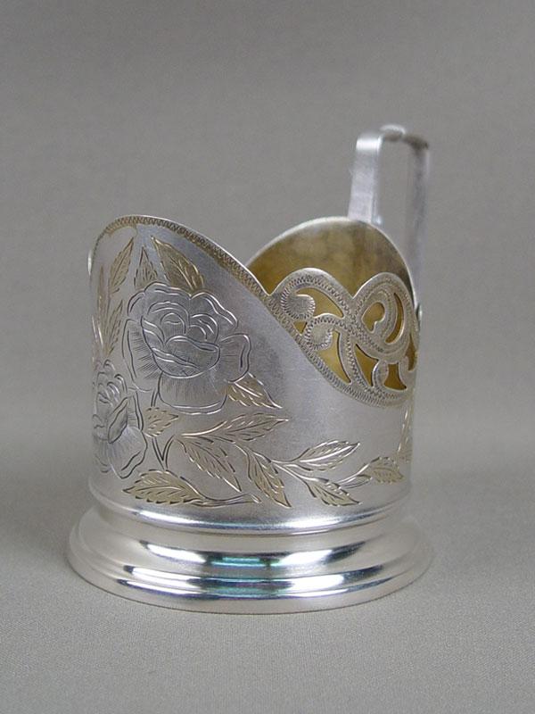 Подстаканник, серебро 875пробы, гравировка, золочение, общий вес— 110,12г.