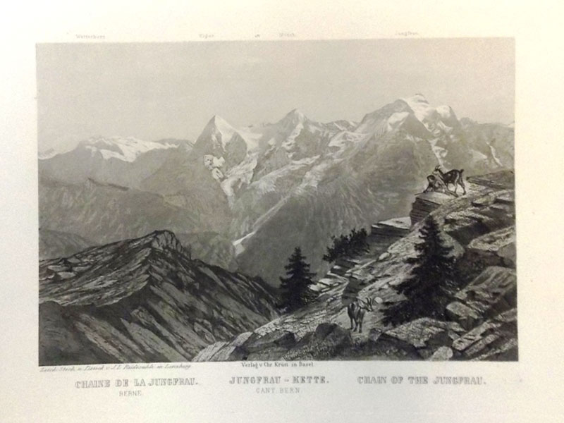 Антиквариат. Вид на горы. Юнгфрау. Швейцария. Альпы