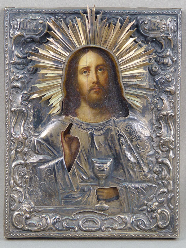 Икона «Спаситель со Святыми Дарами», дерево, масло, оклад серебро 84пробы, 1850год, 25×19см