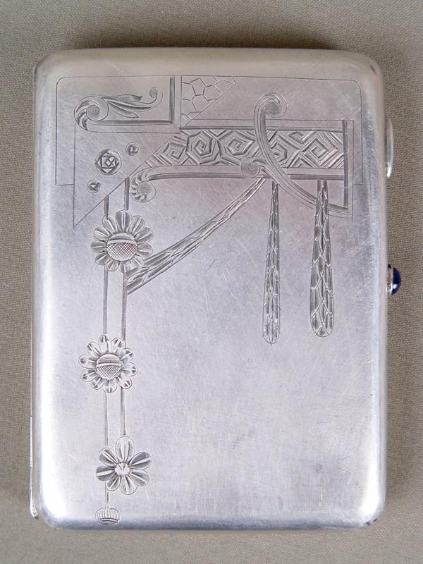 Портсигар, серебро 84°, гравировка, мастер «ВАК», 1908—1917гг., размер: 12×9см, общий вес— 185г