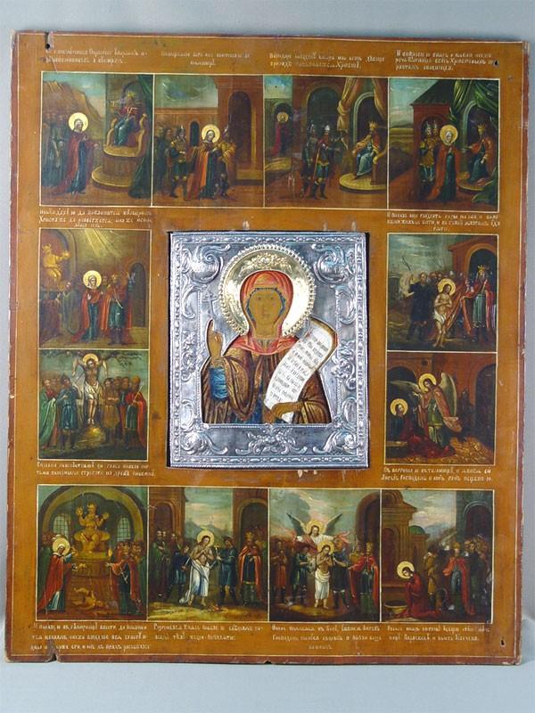 Составная икона «Святая Параскева Пятница сжитием», дерево, левкас, темпера; оклады— серебро 84°, малый оклад— XVIIIвек, большой— конецXIXвека; размер иконы: 80×67см