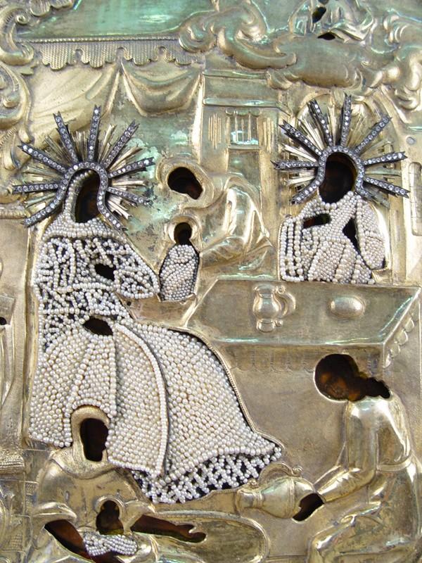 Икона вкиоте «Рождество Пресвятой Богородицы», дерево, смешанная техника; оклад: серебро84°, шитье, жемчуг; XIXвек, размер иконы: 32×27см
