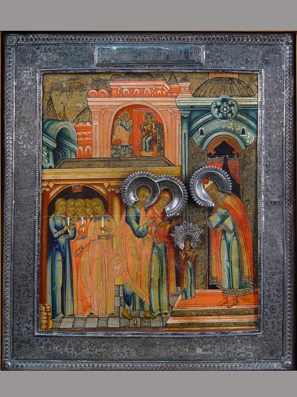 Икона вкиоте «Введение воХрам Пресвятой Богородицы», дерево, левкас, темпера, оклад— серебро 84°, XIXвек, размер иконы: 37×31см