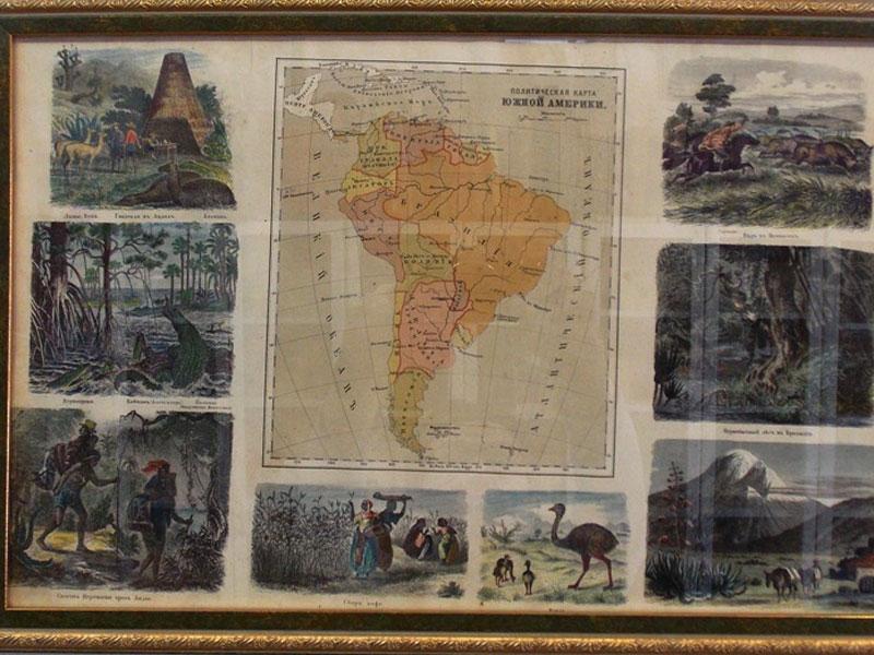 Антиквариат. старинная Карта Южная Америка. Литография