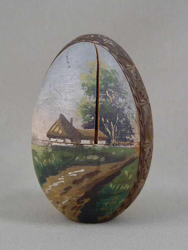 Антиквариат. Яйцо пасхальное русский стиль «Домик»