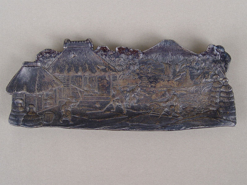 Антиквариат. Лоток «Китай», чугун, Каслинское чугунное литье