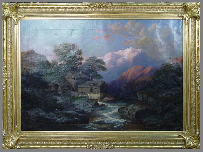 Антиквариат. Richard Fehdmer, «горы. пейзаж. закат»