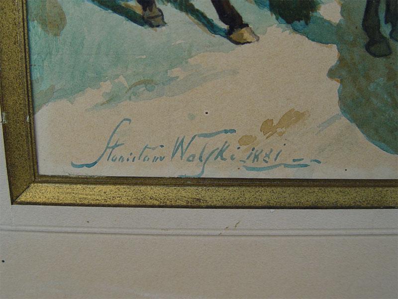 Wolski A., «Свидание», бумага, акварель, 1881год. 20×39см