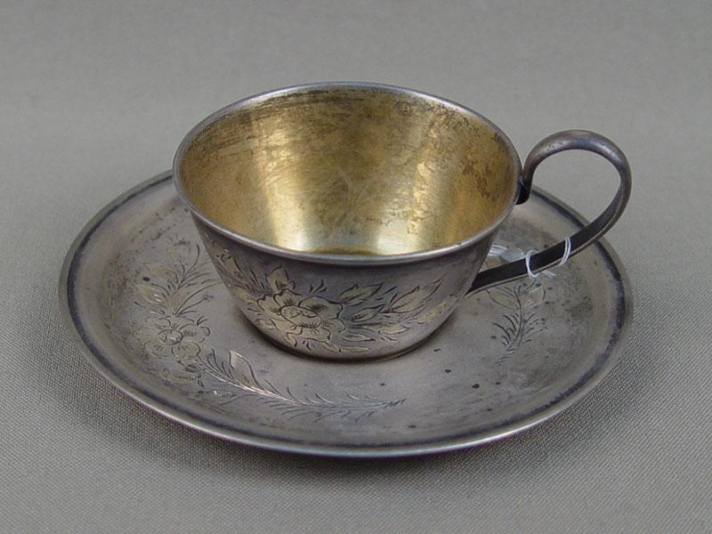 Кофейная пара, серебро 875пробы, гравировка, общий вес— 98,6г.