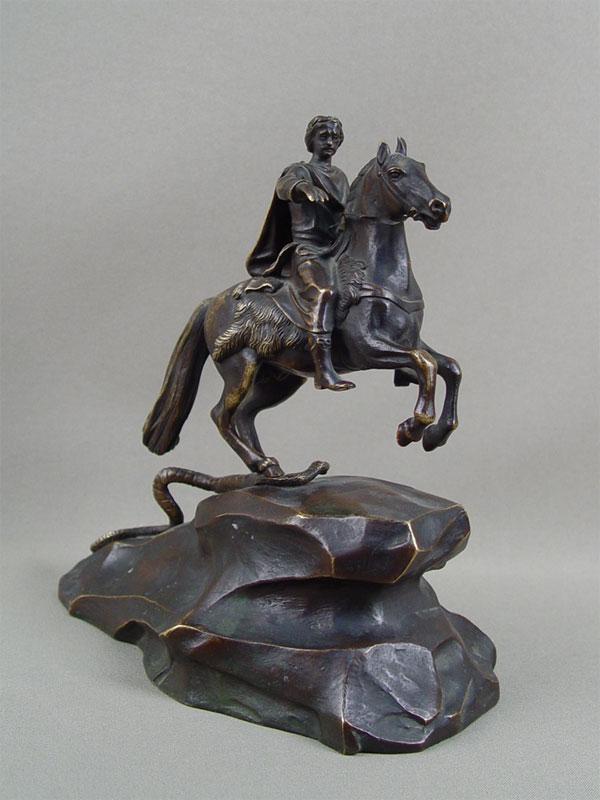 Скульптура «Медный Всадник», бронза, литье, патинирование, XIXвек, высота— 19,5см.