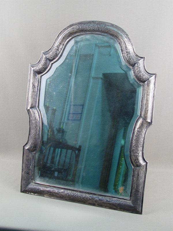 Антиквариат. Зеркало настольное в серебряной раме