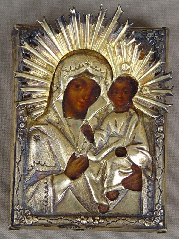 Икона «Пресвятая Богородица Тихвинская», дерево, левкас, темпера, оклад серебро 84пробы, 1844год, 9×7см