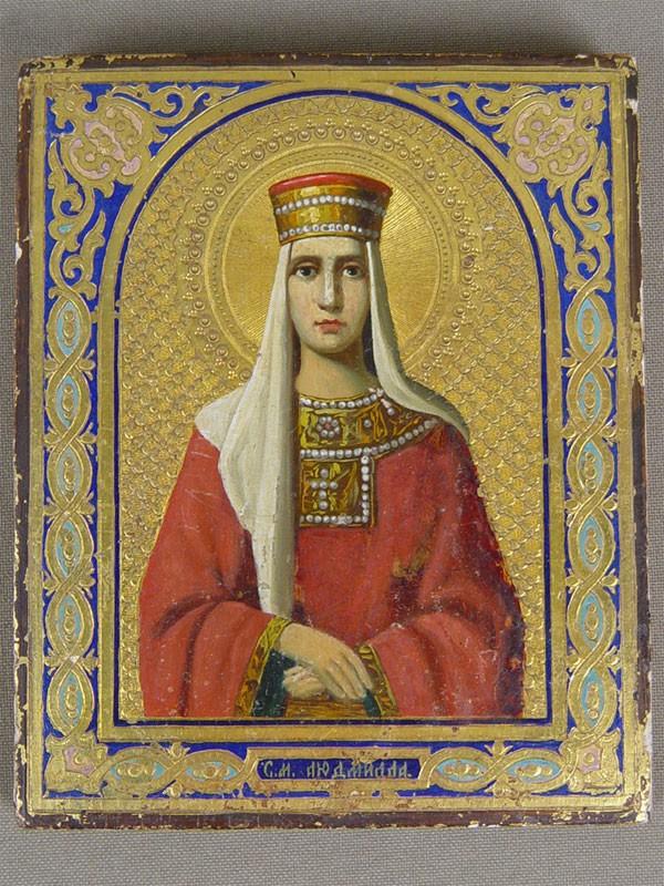 Икона «Святая Мученица Людмила», дерево, масло, золочение, конец XIXвека, 11×9см