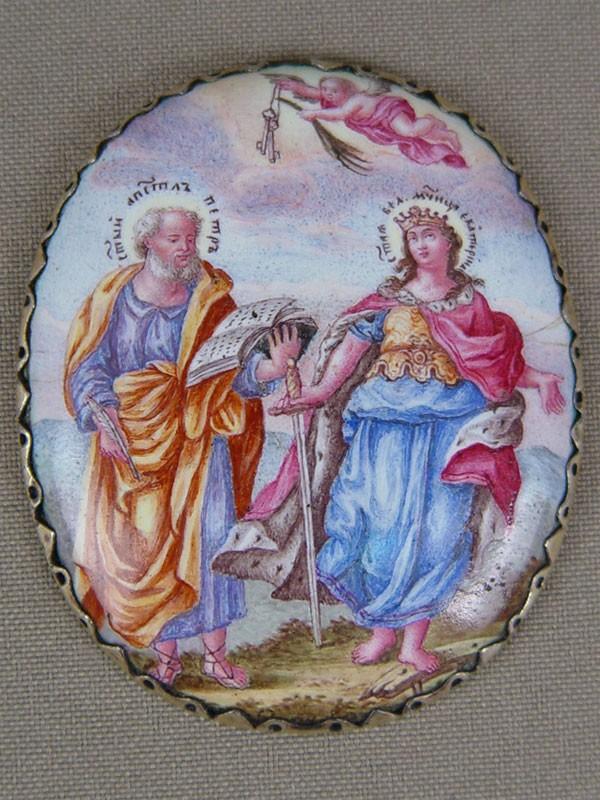Икона «Святой Апостол Петр иСвятая Великомученица Екатерина», финифть, XIXвек, 5,5×4,8см