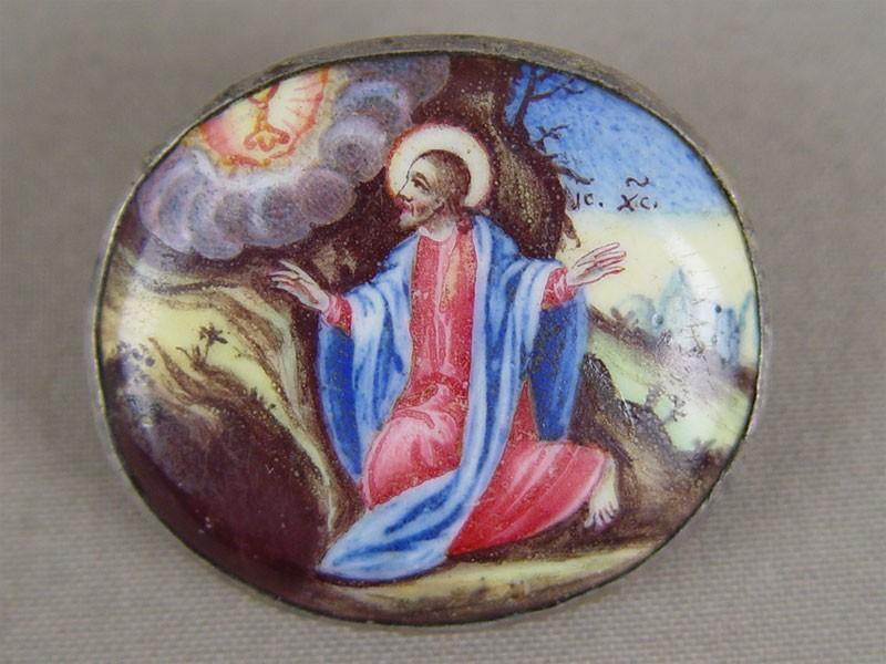Накладка наЕвангелие «Моление оЧаше», финифть, металл, XIXвек, 4×4,5см