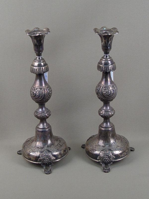 Подсвечники парные, серебро 84пробы, общий вес— 718г., высота— 35см