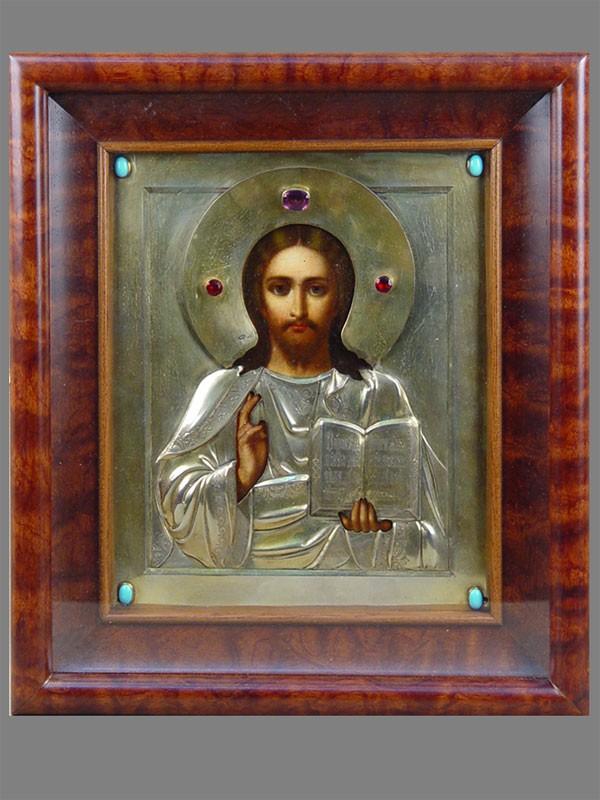 Икона «Господь Вседержитель», дерево, масло, оклад серебро 84пробы, мастер И.А.Алексеев, 26×22см; киот
