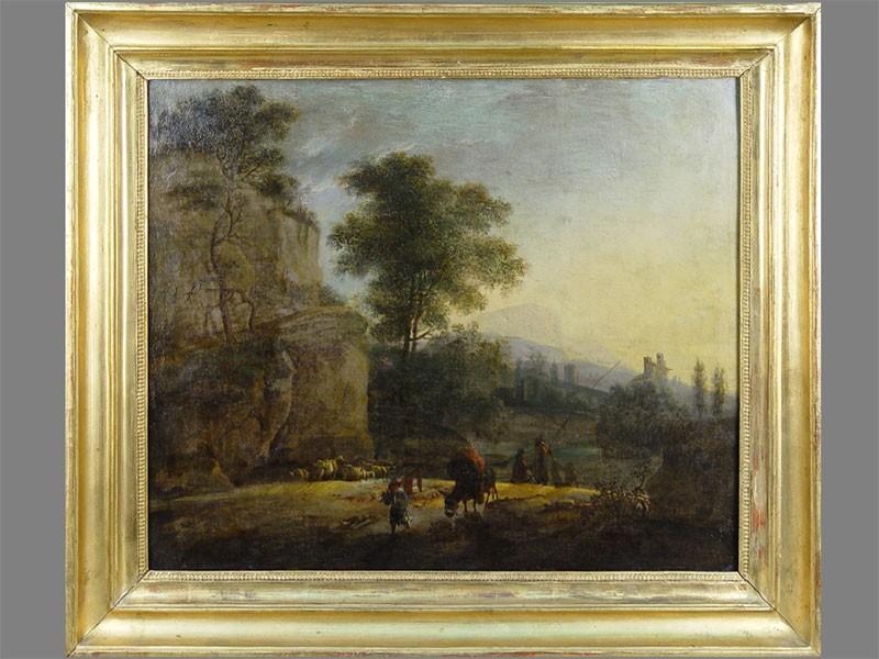 Антиквариат. Пейзаж овцы. старинная картина. антикварная живопись