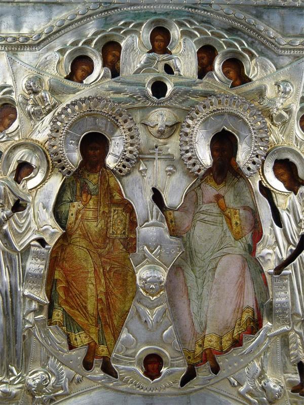 Икона «Отечество», дерево, левкас, темпера, оклад серебро 84пробы, золочение, XIXвек, 33×29см; киот