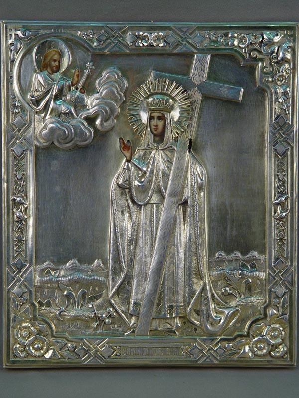 Икона вкиоте «Святая Елена», дерево, масло, оклад— серебро 84°, 1881год, размер иконы: 31,5×26,5см