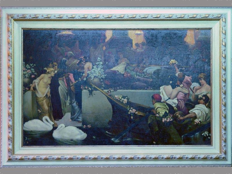 Антиквариат. картина, рама, жанровая сцена