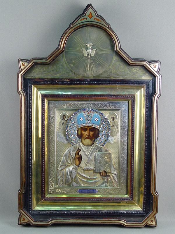 Икона «Святой Николай Чудотворец», дерево, масло, оклад серебро 84пробы, эмаль, XIXвек, 32×27см; киот