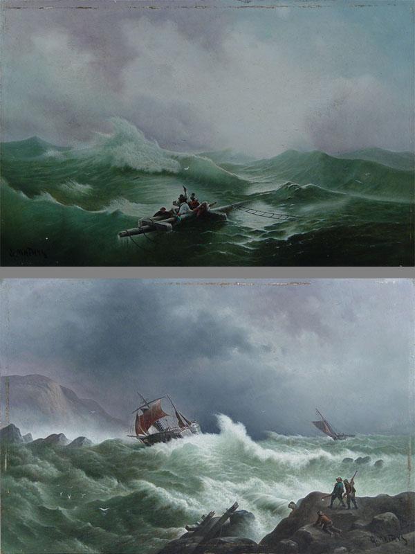 Антиквариат. Пара картин море пейзаж. шторм