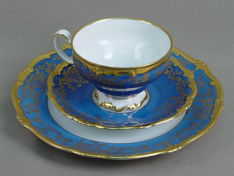 Антиквариат. Чайная пара и тарелка, фарфор