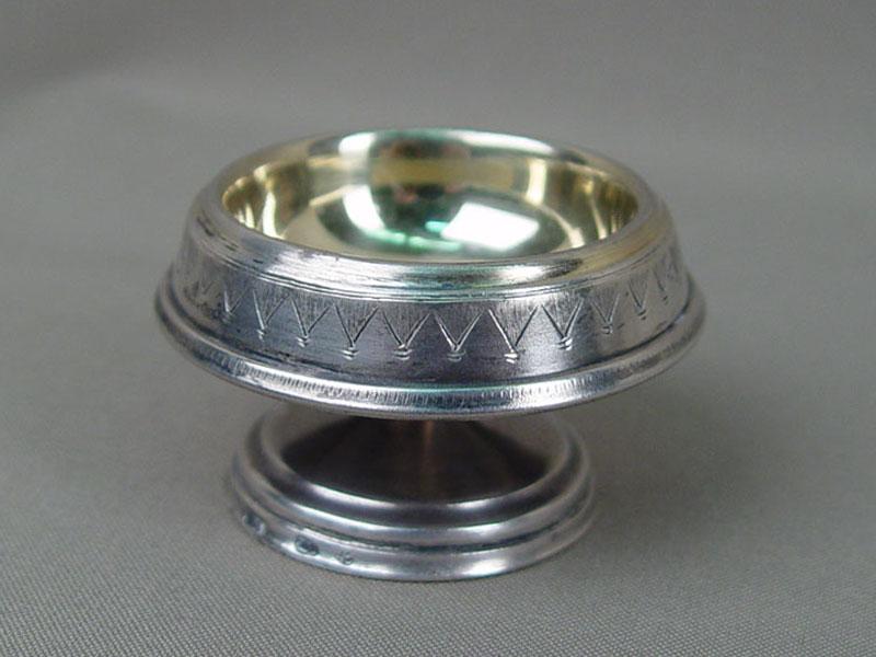 Солонка, серебро 875пробы, общий вес— 45,21г., диаметр— 6см