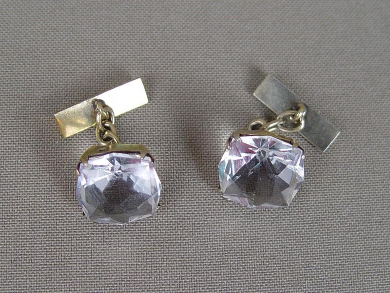 Запонки, серебро 875пробы, хрусталь