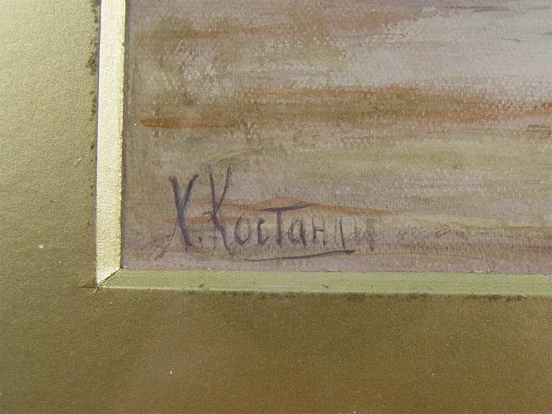 Х.Д.Костанди, пара картин «Морской пейзаж», бумага, акварель, 37×26см (в окне)