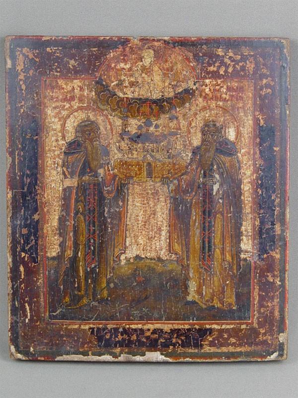 Икона «Святые Зосима иСавватий Соловецкие», дерево, левкас, темпера, XIXвек, 26,523см