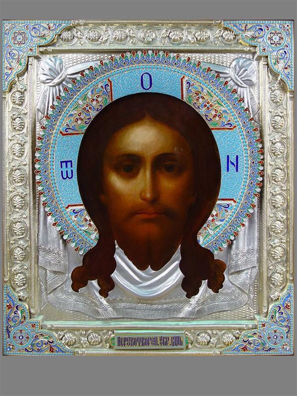 Икона «Спас Нерукотворный», цинк, масло, оклад серебро 84пробы, эмаль, 31×27см; киот