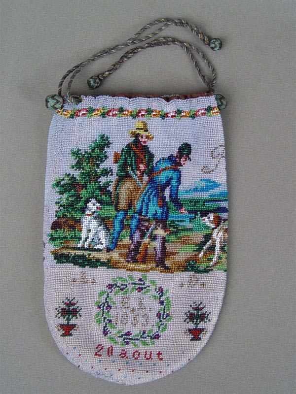 Сумочка-кисет «Охотники», бисер, XIXвек, 21×12см