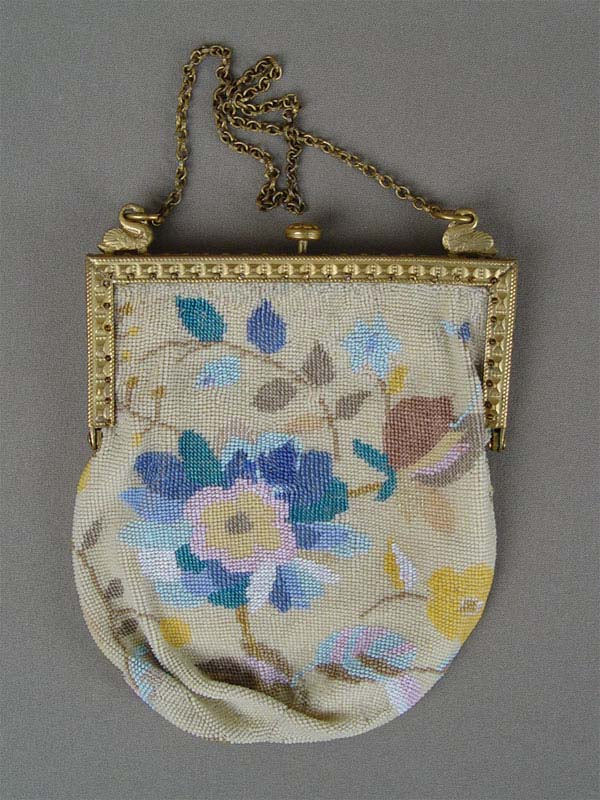 Дамская сумочка, бисер, латунь, XIXвек, 14,5×12,5см