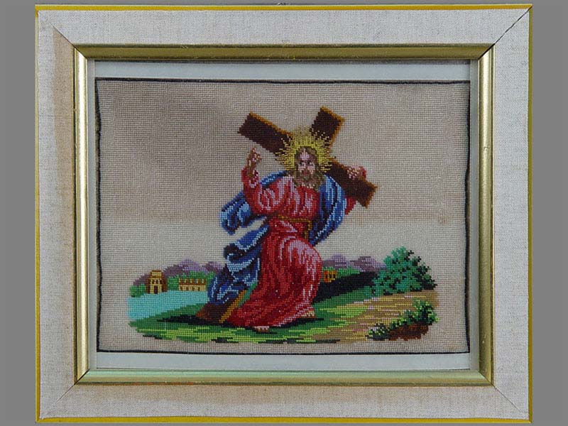 Антиквариат. «Несение Креста», вышивка бисер